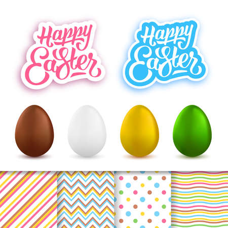 creation kit: Happy Easter greeting cards creation kit. Happy Easter lettering, cute seamless patterns and realistic colored eggs set isolated on white background. Vector illustration Illustration