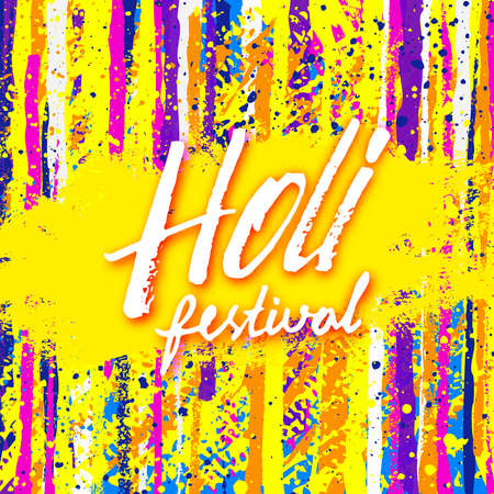 gulal: Holi festival banner with lettering. Abstract grunge watercolor background for Indian holiday. Colorful background with Holi typographic text and paint splash. Powder paint. Vector illustration