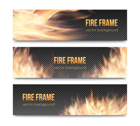 Set of realistic transparent fire flame banners with transparency grid. Special effects. Vector illustration. Translucent elements. Abstract background with transparency and translucent