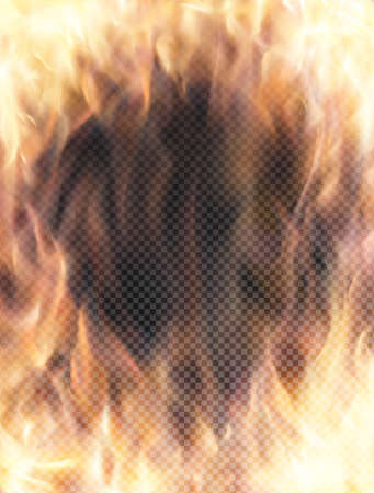raging: Realistic transparent fire flame banner with transparency grid. Special effects. Vector illustration. Abstract background wuth transparency and translucent elements