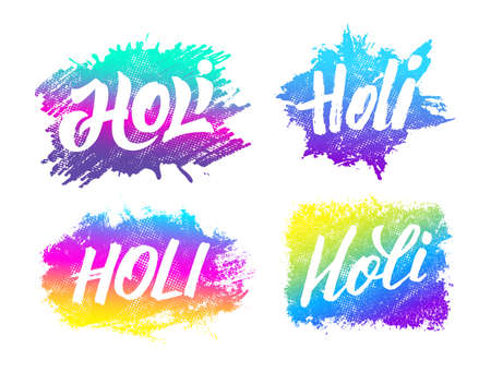 pichkari: Holi festival banners set with hand drawn lettering. Abstract watercolor background for Indian holiday. Colorful badges with Holi typographic text and paint splash. Powder paint. Vector illustration