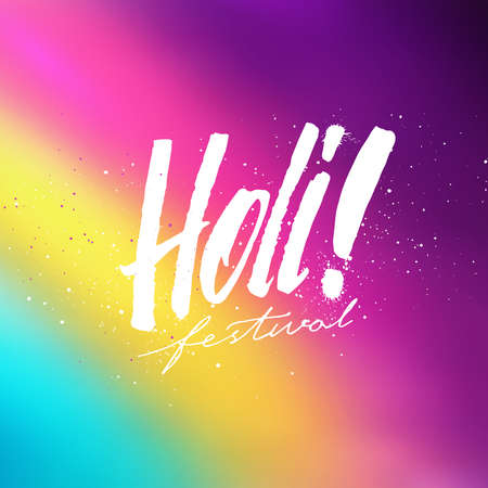 colors paint: Holi festival colorful banner with lettering. Abstract blurry background with rainbow colors for Indian holiday. Colorful background with Holi typographic text and powder paint. Vector illustration