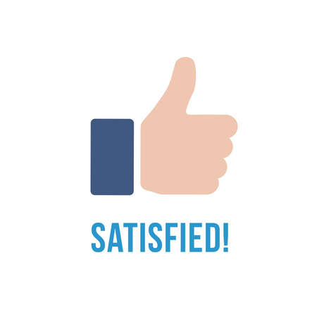 satisfied: Satisfied icon with text. Illustration