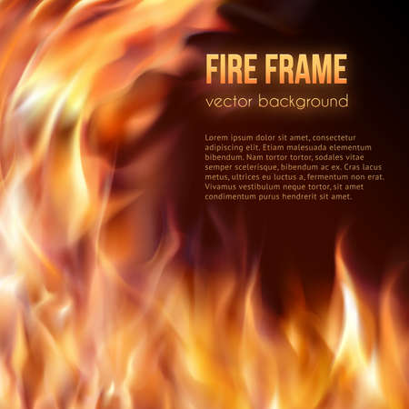 fireside: Abstract background with fire flames frame and copy space for text.