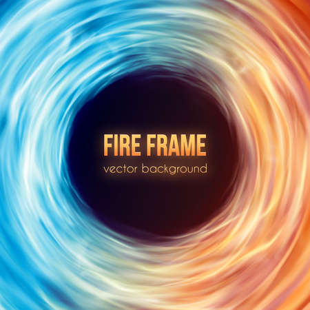 Abstract background with fire flames frame and copyspace for text. Vector illustration. Burning fire frame. Vector Fiery Background. Campfire. Transparent fire flames. Blue and red colors gas igniting Illustration