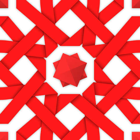 intertwined: Red interwoven ribbons ornament. Geometric seamless pattern with crossed strips. Vector illustration. Red tape 3d style. Colorful abstract intertwined seamless background. Oriental pattern. Illustration