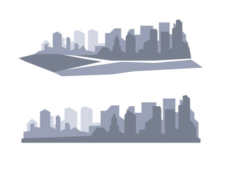 megapolis: Flat megapolis panorama. City skyline set. Metropolis silhouette. Layered cityscape panorama. Vector illustration. Illustration