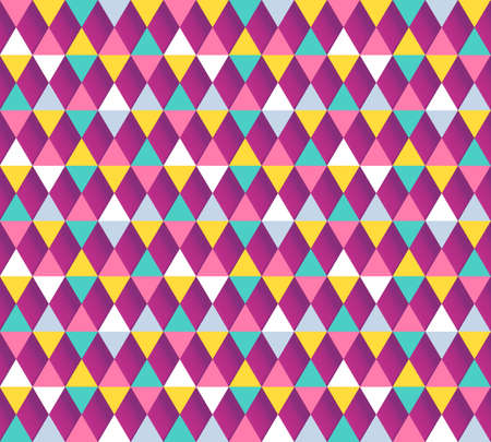mardi gras background: Modern geometric seamless vector pattern. Colorful argyle pattern. Mardi gras background. Pastel colored triangle flags ornament with 3D shadows.