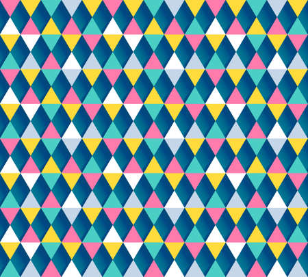 argyle: Modern geometric seamless vector pattern. Colorful argyle pattern. Festa junina background. Pastel colored triangle flags ornament with 3D shadows.
