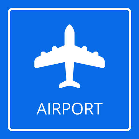 airport sign: Airport sign vector. Airplane icon. Flat passenger plane icon isolated on blue background. Aircraft logo
