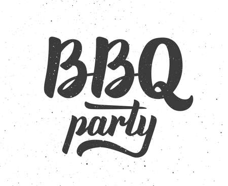 party time: Vintage BBQ party Barbecue text lettering label.