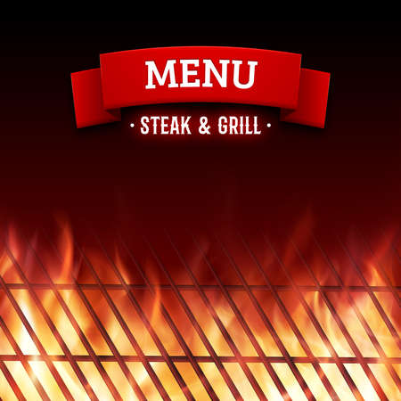flames vector: Steak and grill house menu. Close-up of BBQ grill and realistic burning fire flames. Vector illustration