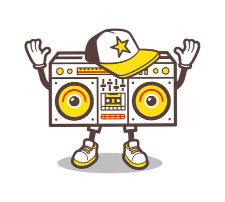 blaster: Cartoon boom box character design for tee. Isolated ghetto blaster comic style t-shirt print. Swag tape player in baseball cap and sneakers cartoon character for apparel design. illustration Illustration
