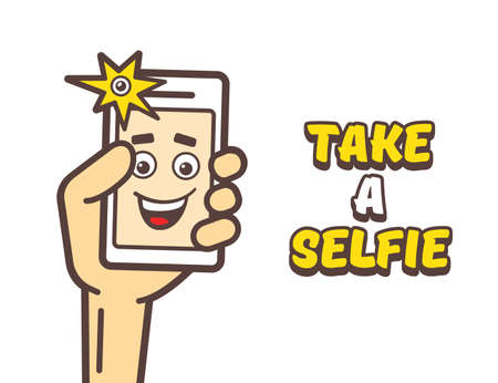 holding smart phone: Selfie photo concept. Happy man taking self portrait with smart phone. Man holding mobile phone and taking a selfie. Take a selfie text. cartoon illustration Illustration