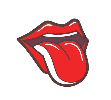 Öffnen Sie den Mund mit roten Lippen und der Zunge kleben close-up. Cartoon Illustration der weiblichen Lippen auf weißem Hintergrund isoliert. Zunge zeigt aus. Gesichtsausdruck Konzept. Umriss-Symbol