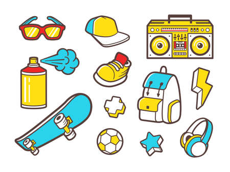 boombox: Youth culture symbols - headphones, sneakers shoes, backpack and sunglasses. Urban lifestyle flat line icons - boombox, paint spray, soccer ball and skateboard. outline icons set.