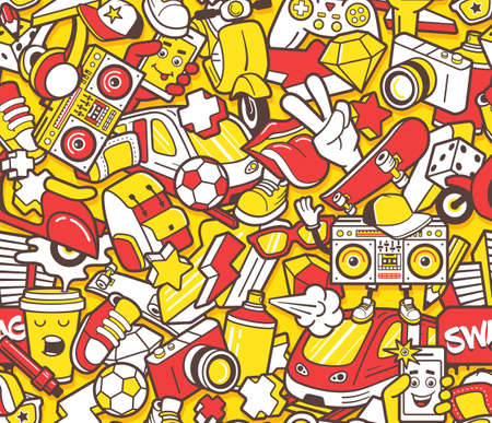 Graffiti seamless pattern with urban lifestyle line icons. Crazy doodle seamless abstract background. Trendy linear style graffiti collage with bizzare street art elements. seamless pattern