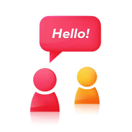 chat room: People icons and dialog speech bubble with text Hello. Chat room icon design concept. Abstract woman glossy 3D icon starts dialog with friend. illustration Illustration