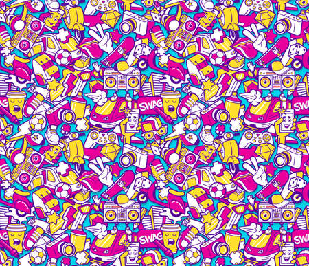 Graffiti seamless pattern with urban lifestyle line icons. Crazy doodle seamless abstract background. Trendy linear style graffiti collage with bizarre street art elements.