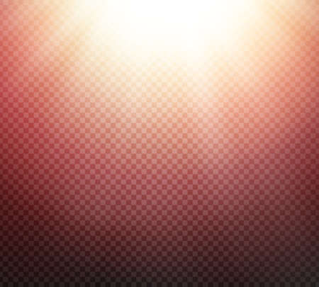 radiance: Sunlight or burst special light effect on transparent background. Glowing sun rays and red toned radiance with transparency. Vector illustration