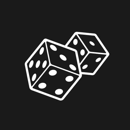 two: Two dices isolated on black background. Illustration