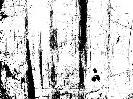 Scratched texture overlay. Distressed texture. Black and white colored grunge background. Rust texture overlay. Abstract background. Vector illustration Vettoriali