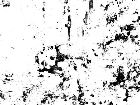 Distressed texture overlay. Aged peeling paint texture. Dirty wall texture. Abstract grunge white and black background. Vector illustration.