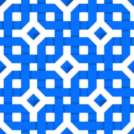 intertwined: Blue crossed ribbons ornament. Geometric seamless pattern with crossed strips. Vector illustration. Blue tape 3d style. Colorful abstract intertwined seamless background.