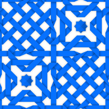 entwined: Blue crossed ribbons ornament. Geometric seamless pattern with crossed strips. Vector illustration. Blue tape 3d style. Colorful abstract intertwined seamless background.