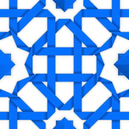intertwined: Blue interwoven ribbons ornament. Geometric seamless pattern with crossed stripes. Tileable oriental background with intertwined tape