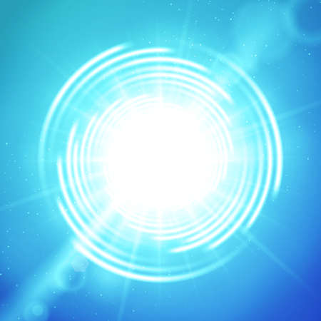 summer sky: Realistic shining summer sun or portal at blue sky background with vortex, long bright rays and lens flare
