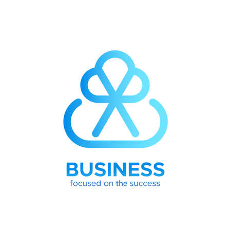 bottom line: B2B monogram  design concept isolated on white background. Modern corporate identity for business marketing company. Abstract web icon in mono line style with text at the bottom Illustration