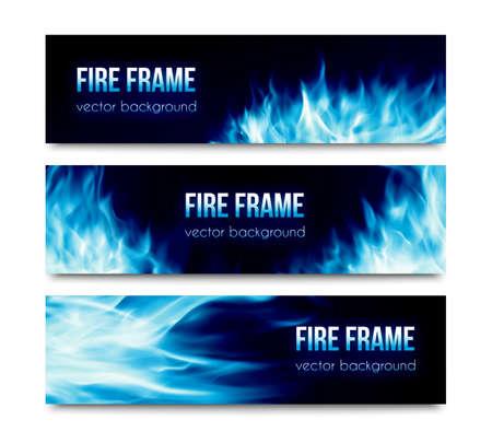 Satz von schwarzen horizontalen Vektor Banner mit realistischen transparent leuchtend blauen Feuer Flammen isoliert auf weißem Hintergrund. Zusammenfassung Website-Header Illustration oder Flyervorlagen