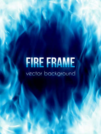 Abstract vector background with blue color burning fire flames frame and blank space for text. Fiery banner design template Vettoriali