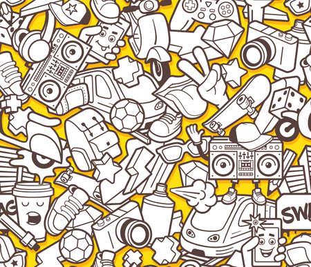 Graffiti bez szwu deseń z miejskich ikon stylu życia. Szalony doodle streszczenie wektora tle. Trendy collage stylu konspektu z dziwacznymi elementami street art. Szablon dla projektantów kolorowanek dla dorosłych