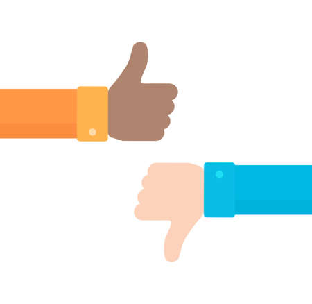 Thumbs up and down vector icon in flat style. Concept of positive and negative feedback from customers. Good and bad gestures isolated on white background