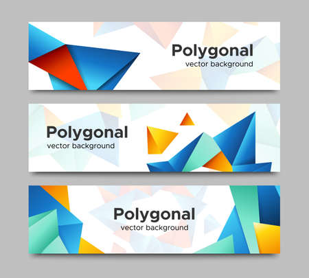 vibrant color: Set of horizontal vector banners with vibrant color polygonal crystal shape frames isolated on white background. Colorful website header or flyer templates collection