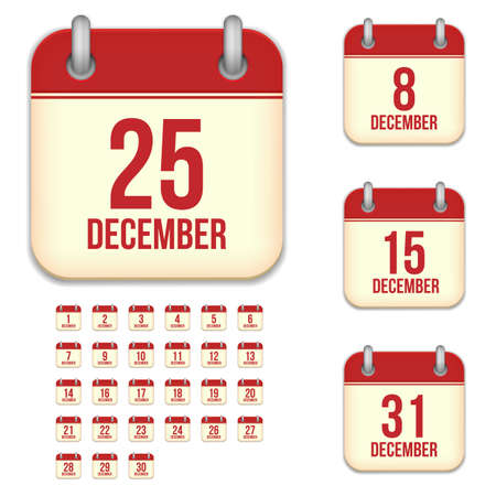 6 9 months: December tear-off calendar vector icons set isolated on white background. Square shape reminder sign for every day. Illustration