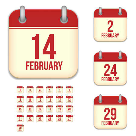 2 5 months: February tear-off calendar vector icons set isolated on white background. Square shape reminder sign for every day.