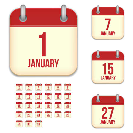 3 5 years: January tear-off calendar vector icons set isolated on white background. Square shape reminder sign for every day. Illustration