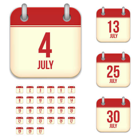 6 9 months: July tear-off calendar vector icons set isolated on white background. Square shape reminder sign for every day. Illustration