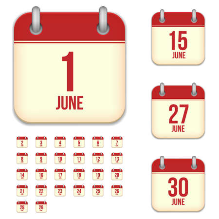 6 9 months: June tear-off calendar vector icons set isolated on white background. Square shape reminder sign for every day.