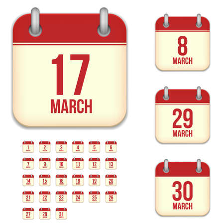 6 9 months: March tear-off calendar vector icons set isolated on white background. Square shape reminder sign for every day. Illustration