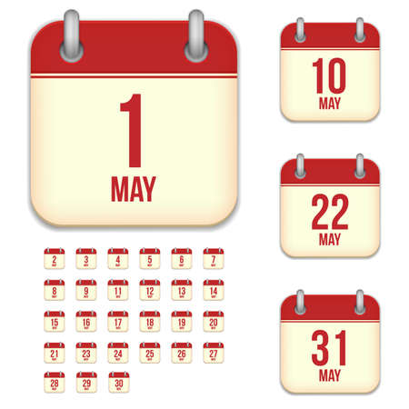 3 5 years: May tear-off calendar vector icons set isolated on white background. Square shape reminder sign for every day. Illustration