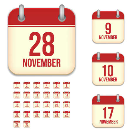 6 9 months: November tear-off calendar vector icons set isolated on white background. Square shape reminder sign for every day.