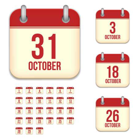 3 6 months: October tear-off calendar vector icons set isolated on white background. Square shape reminder sign for every day.