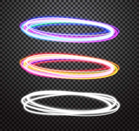 special effects: Round light trails vector special effects set with transparency isolated on plaid background. Colorful glowing blue-violet and orange-red rings design elements for decoration Illustration
