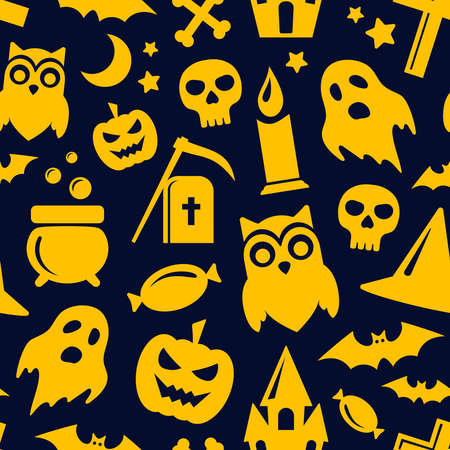 Halloween seamless pattern in black and orange colors. Vector background with scary pumpkin, bats, ghost and skull icons. Illustration