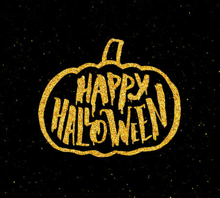 Festive Poster For Happy Halloween Party With Hand Lettering Text And  Golden Pumpkin On Black Background