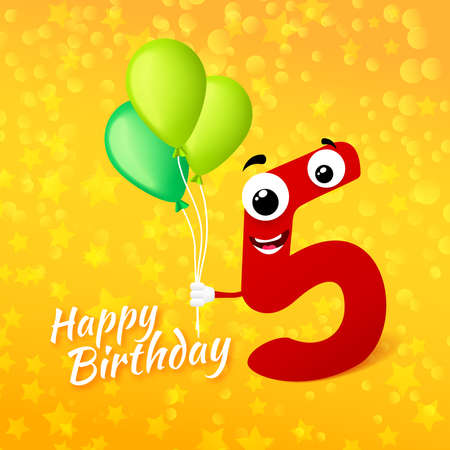 fifth: Fifth birthday festive greeting card. Cartoon illustration for 5 years anniversary with number five character and text Happy Birthday. Vector illustration Illustration